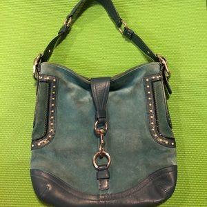 Turquoise suede over the shoulder Coach hobo